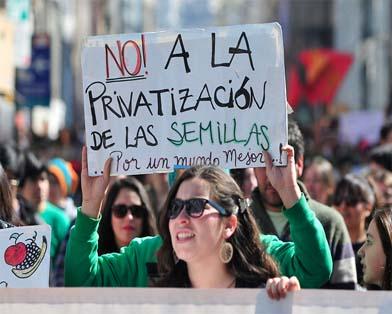 El tratado de libre comercio entre Guatemala y EUA obliga a Guatemala a adherirse al Convenio UPOV. pero la resistencia popular forzó al gobierno a repeler una ley nacional que se buscaba aprobar con este propósito. (Foto: Raúl Zamora)